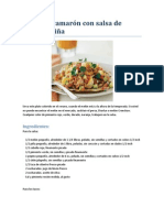 Tacos de camarón con salsa de melón y piña
