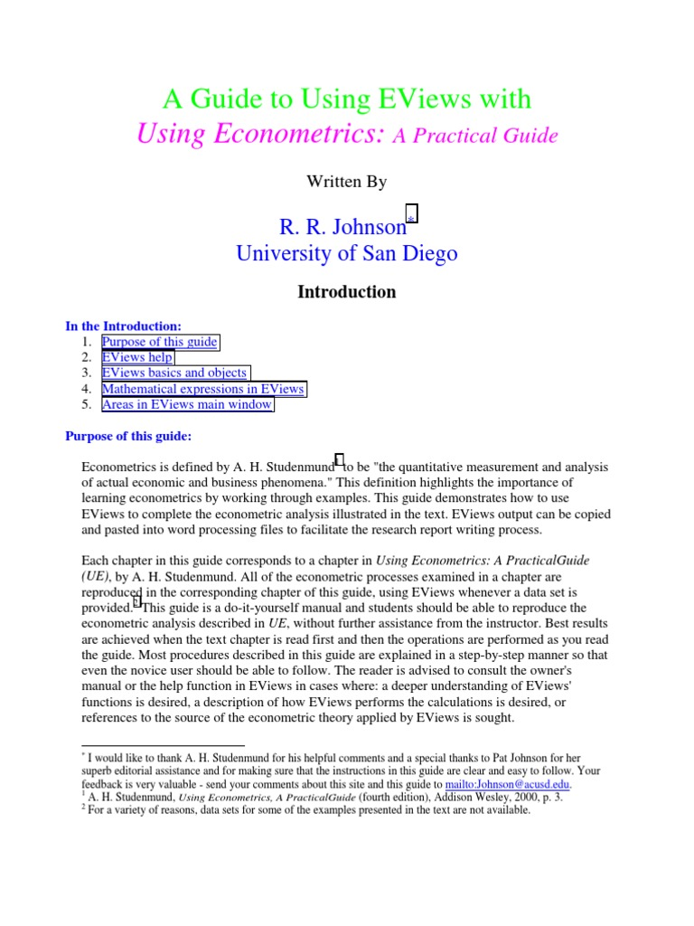 A guide to using Eviews   Regression Analysis   P Value