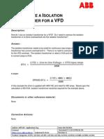 VFD Isolation Trafo Sizing