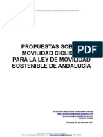 Propuestas sobre movilidad ciclista para la Ley de Movilidad Sostenible de Andalucía