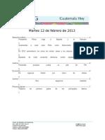 Guatemala Hoy 2013-02-12