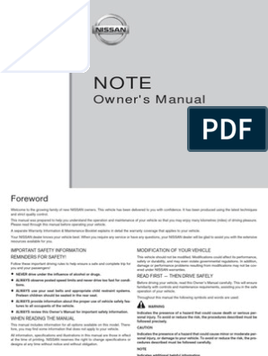 Nissan Note 2006 Owner Manual Airbag Seat Belt