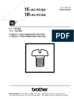 Brother Embroidery Service Manual Be-0901e Be-1201e Parts Book