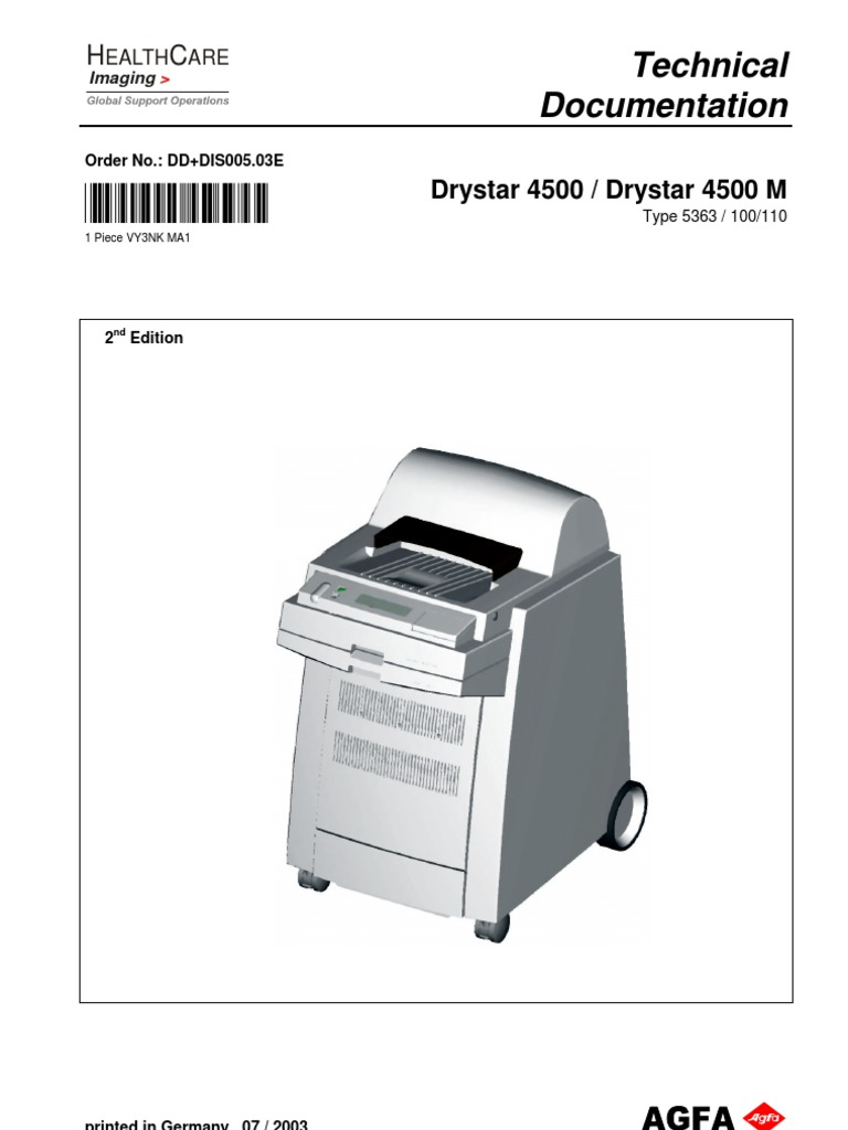 AGFA Drystar 4500 Film Printer Service Manual - Revision 2   Electronic  Waste   Medical Device