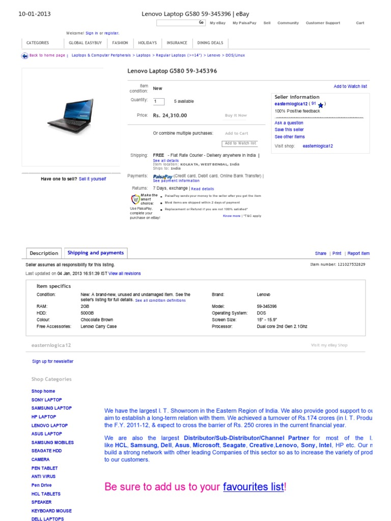 1lenovo Laptop G580 59
