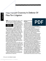 """Help Wanted- Creativity in Defense Of Mass Tort Litigation"" (Corporate Counsel, November 2005)"
