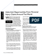 """""""Risks and Opportunities From Personal Injury Claims Around the World"""" (Corporate Counsel, May 2005)"""