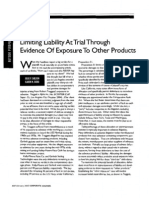 """Limiting Liability at Trial Through Evidence of Exposure to Other Products,"" J. Shelton and K. Borg (Corporate Counsel, Feb. 2005)"