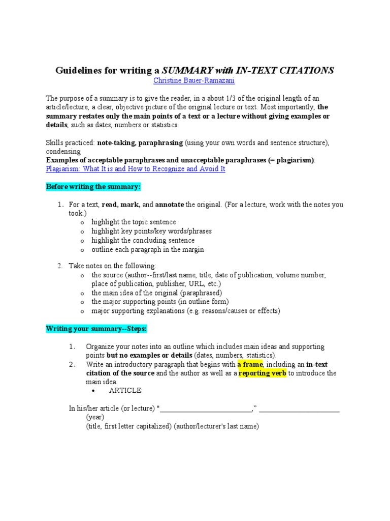 Guidelines For Writing A SUMMARY  Citation  Sentence (Linguistics)