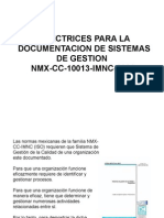 DIRECTRICES PARA LA DOCUMENTACIÓN DE SISTEMAS DE GESTION DE CALIDAD NMX-10013