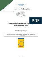 [Vox Philosophiae] Horia-Vicenţiu Pătraşcu - Fenomenologia nesimţirii. Reflecţii pe marginea unui ghid