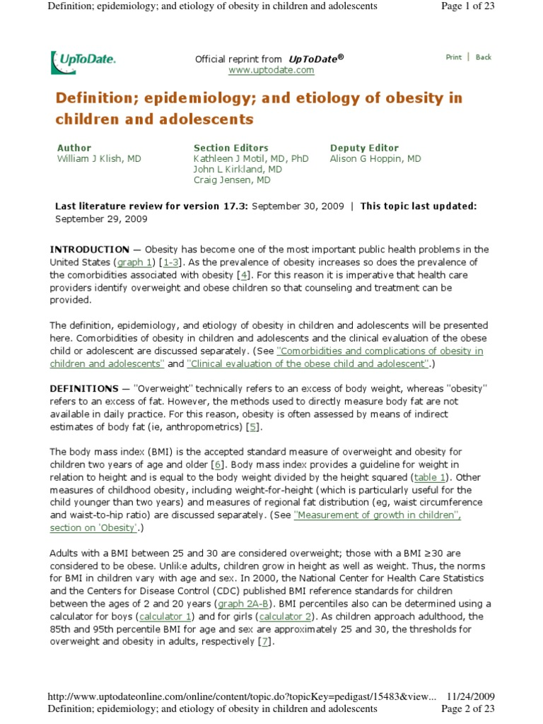 OBESIDAD EPIDEMIOLOGIA  Up ToDate 2009 pdf | Obesity (12 views)