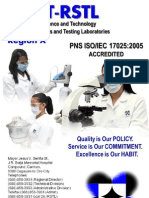 DOST-X RSTL Brochure of Testing and Calibration Services
