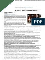 In Syrian shadow, Iraq's Maliki juggles Tehran, Washington.