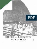 Etudes et documents Balkaniques - 4 , 1982