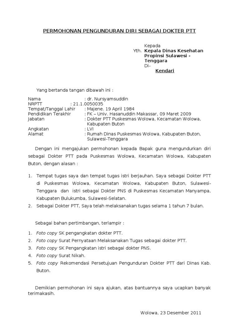 Contoh Surat Resign Puskesmas Detil Gambar Online