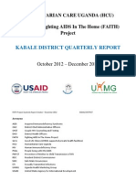 HUMANITARIAN CARE UGANDA (HCU) KABALE DISTRICT QUARTERLY REPORT October 2012 – December 2012