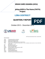 HUMANITARIAN CARE UGANDA. LIRA DISTRICTQUARTERLY REPORTOctober 2012 – December 2012