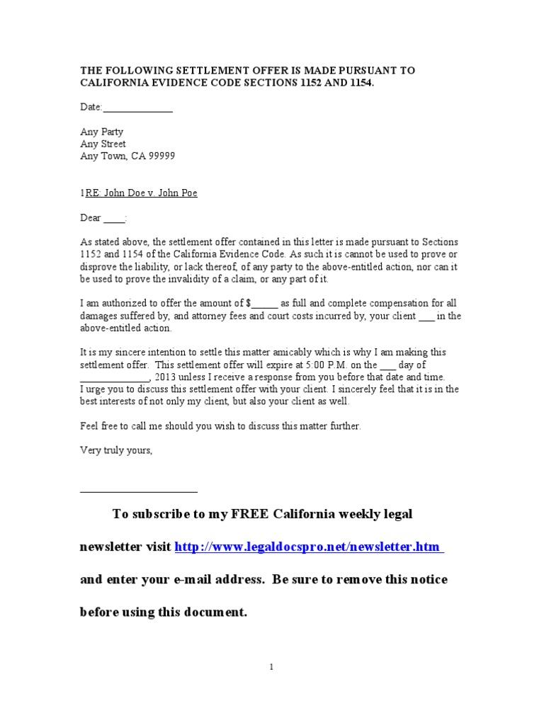 Printable Sample Settlement Letter Form Basic Legal Document