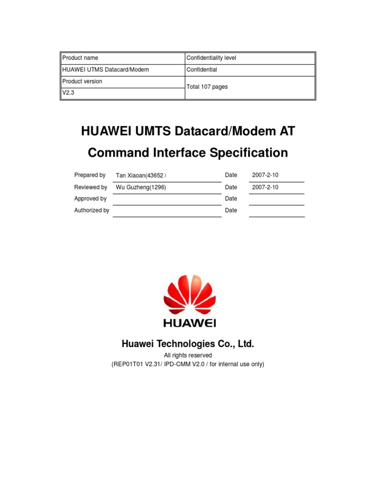 HUAWEI UMTS Datacard Modem at Command Interface Specification_V2 3