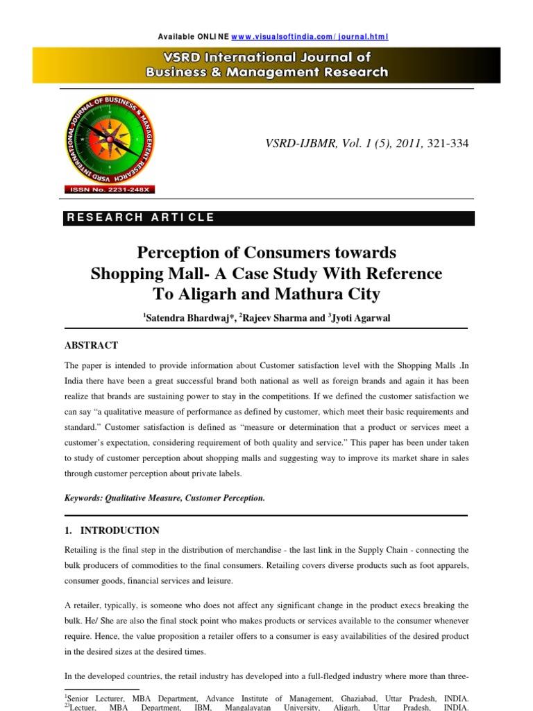 a study on customer satisfaction towards shopping malls pdf