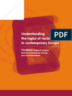 Understanding the logics of racism in contemporary Europe / TOLERACE Research project    Booklet presenting key findingsand recommendations