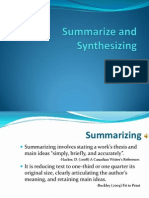 Summarize and Synthesizing