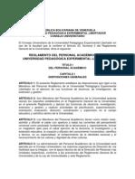 Propuesta de Reglamento del Personal Académico de la UPEL