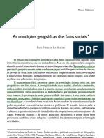 LA BLACHE_As  condições geográficas dos fatos sociais
