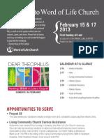 Church Bulletin for February 15 & 17, 2013