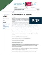De Mgginimis Benefit in the Philippines