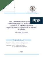 Una Valoracion de La Gestion Del Conocimiento Para El Desarrollo de La Capacidad de Aprendizaje en Las Organizaciones Propuesta de Un Modelo Integrador 0
