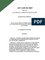 LEY 1149 DE 2007 reforma el Código Procesal del Trabajo
