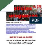 Noticias Uruguayas sábado 16 de febrero del 2013