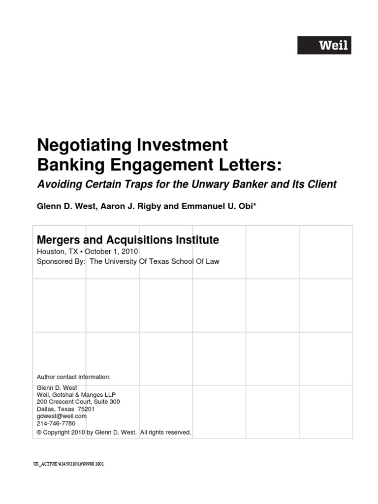 Investment banking m&a engagement letters for consultants greiner investments bedford nh patch