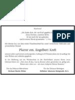 Nachruf Pfarrer Engelbert Kreft
