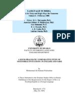 A Socio-pragmatic Comparative Study Of