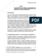 CONTRIBUCIONES DE LA DEFENSORÍA DEL PUEBLO AL PLAN NACIONAL DE LUCHA CONTRA LA CORRUPCIÓN Y ÉTICA CIUDADANA