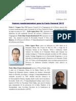 Nuevos nombramientos para la Curia General 2013