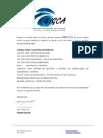 Carta de presentación Empres SIGCA Consultoria Sistema Integrado de Gestión