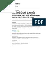 Asterion 399 3 Jean Claude Monod La Querelle de La Secularisation de Hegel a Blumenberg Paris Vrin Problemes Et Controverses 2002 30 Euros (1)