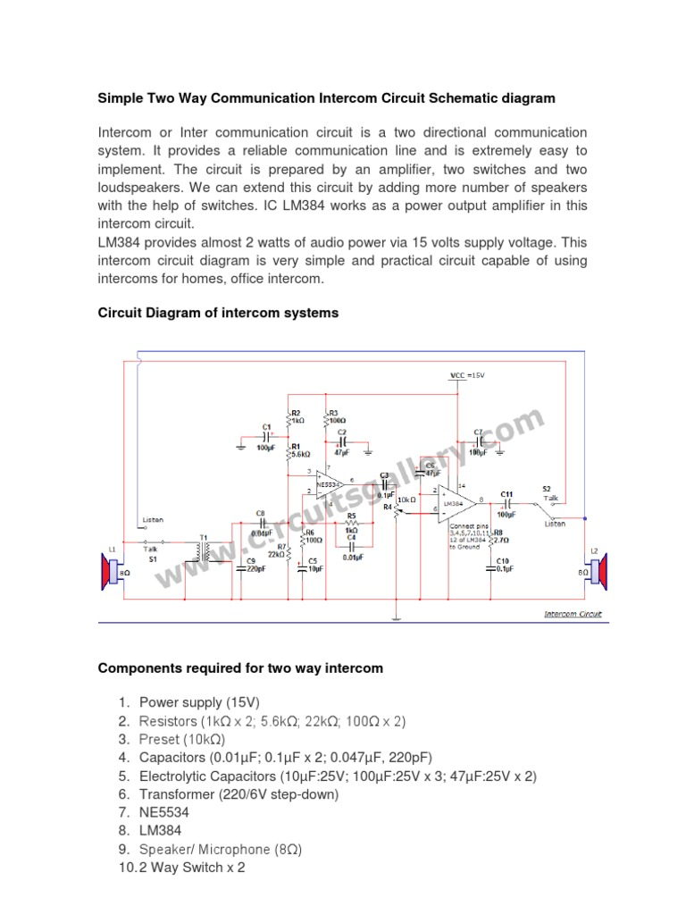 Circuit Diagram Of Intercom System Trusted Wiring Golmar Simple Two Way Communication Schematic Wired Systems