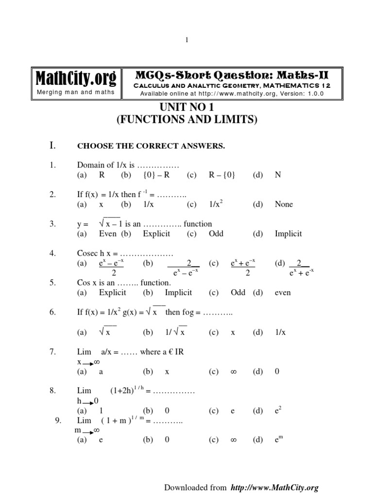 Mcqs Short Questions Math Fsc Part2 Ellipse Algebraic Geometry