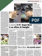 Super Bowl numero 47 sul Corriere del Ticino