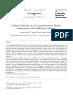 SPIRITUAL LEADERSHIP and Army Transformation Theory Measurement and Establishing a Baseline