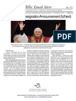 373 - Pope Benedict Resignation Announcement (Full Text)