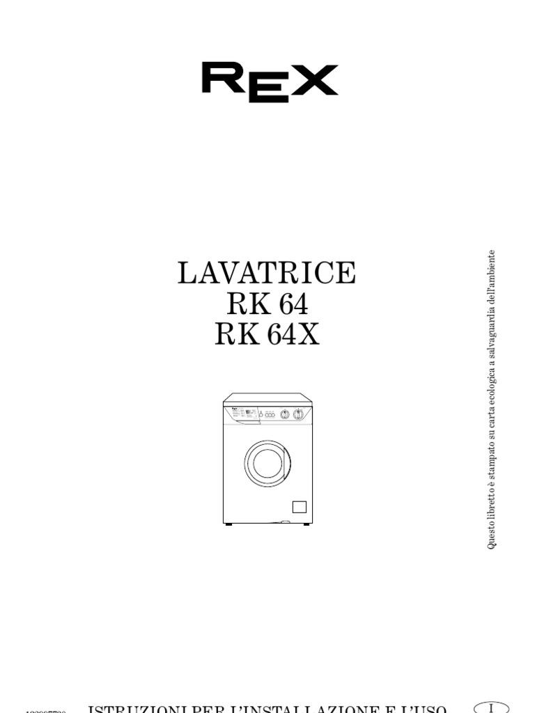 manuale lavatrice Rex RK64 RK64X