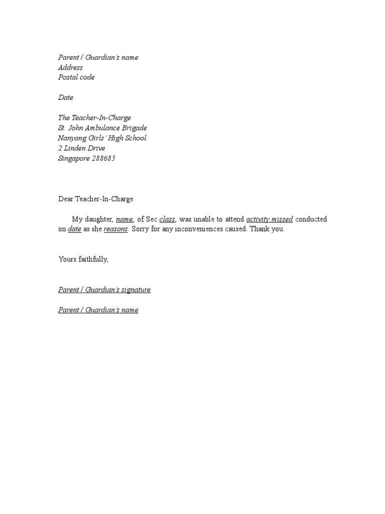 excuse letter for absent student excuse letter format 12690
