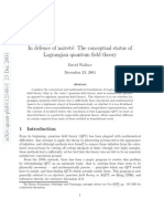 In defence of naivet´e - The conceptual status of Lagrangian quantum field theory