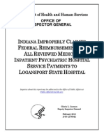 Indiana Logansport State Hospital Medicaid Federal Audit
